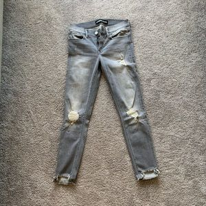 Gray Express Ripped Skinny Jeans Fringed Bottoms